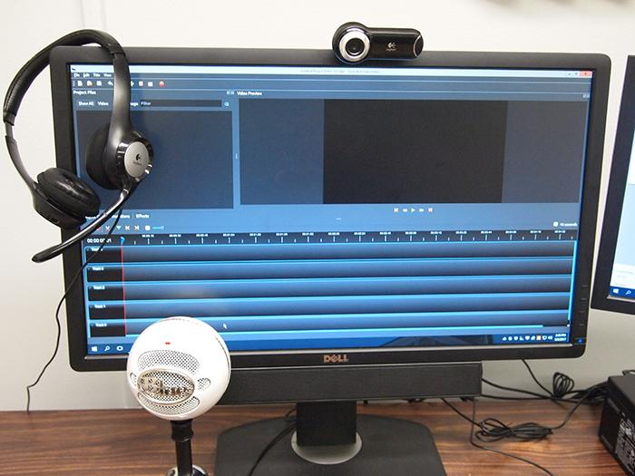 Video-editing software, webcam, microphone, and more tools for making AV or digital essay projects.
