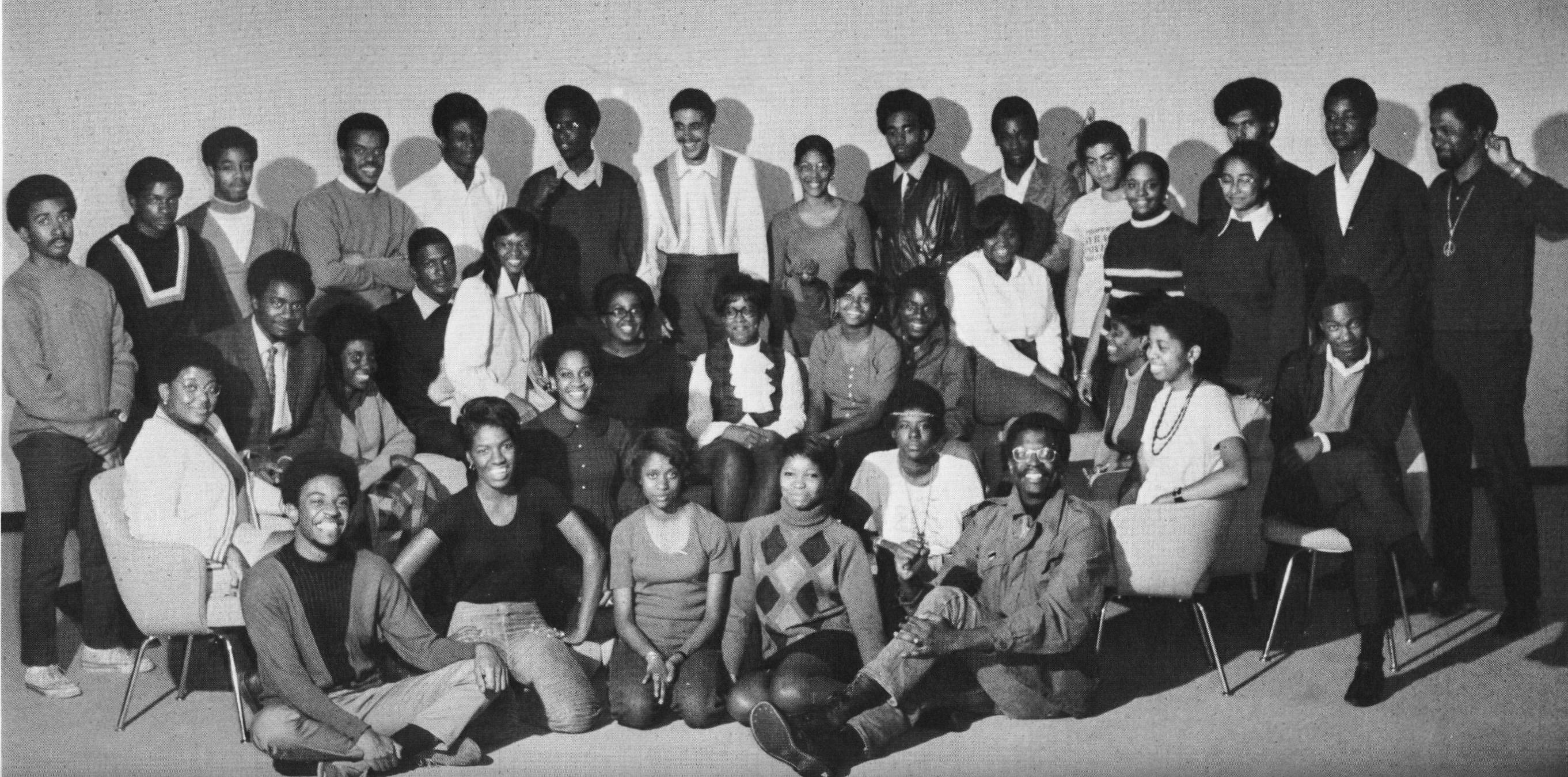 Group photo of Black Student Union members in 1970s