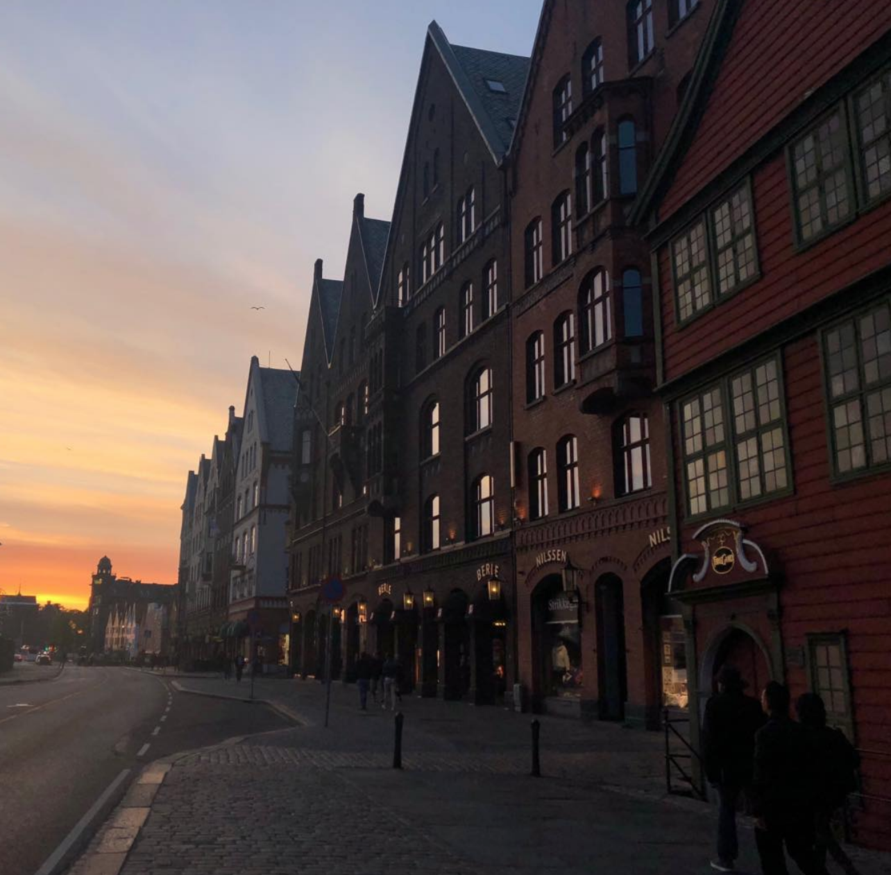Row of old, charming buildings along the Bryggen wharf