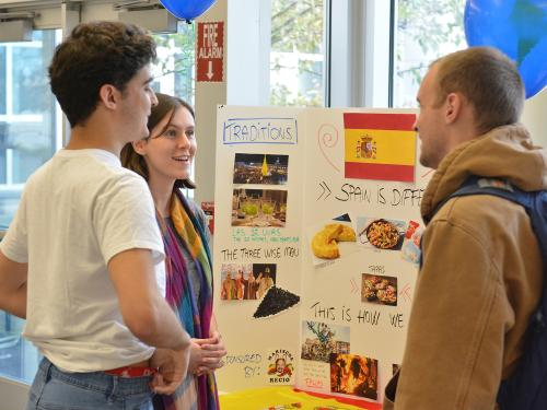 Students discuss international culture, cuisine, customs