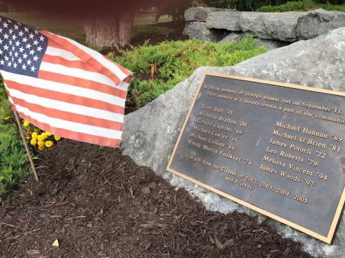 Memorial with names of 12 alumni killed in 9/11 attacks