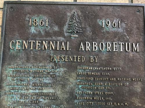 Plaque from Centennial Arboretum in 1961 thanking many supporters