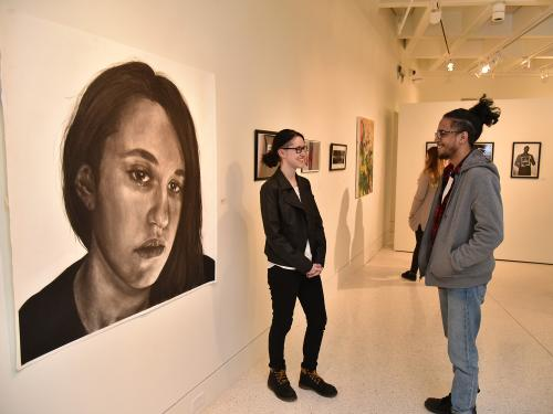 Chelsea Jodway presents her charcoal drawing