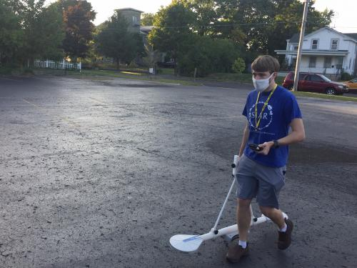 Max Cameron, a senior anthropology major, uses a large electromagnetic device called the EMP 400 in hunting for -- and apparently finding -- Oswego's 18th-century Fort George