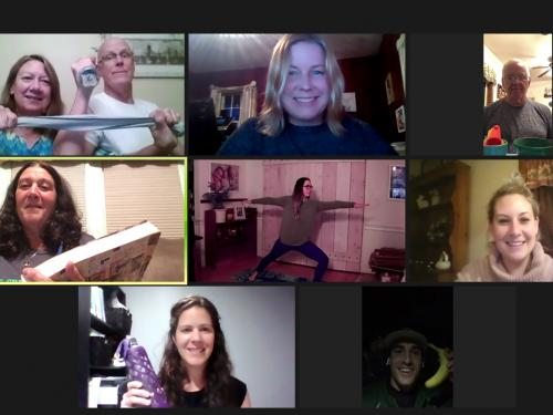 Participants in a Zoom session of Discover Wellness workplace program