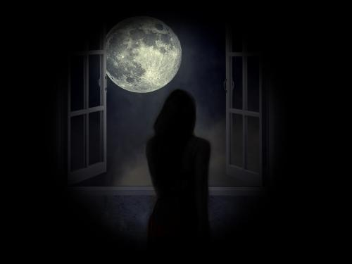 Production image for Elsewhere showing a lone figure in front of a dark window and with a full moon