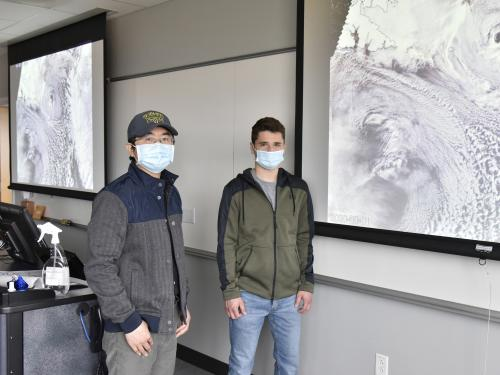 Meteorology faculty member Yonggang Wang and sophomore meteorology major Michael Pagnanelli recently earned a campus grant to support their research of Arctic cold air outbreaks