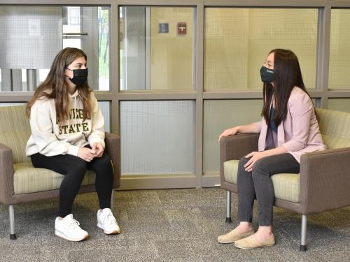 Student Alison Rushanova (left) recently had the opportunity to meet Taeko Kelly of the Office of Career Services, who served as a Quarantine Buddy earlier this semester.