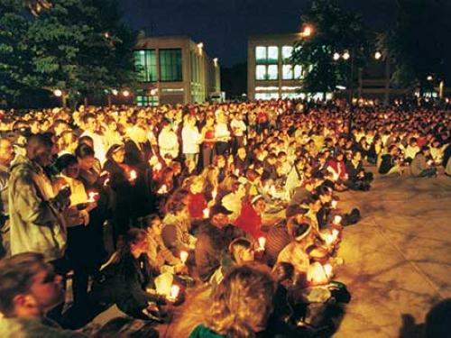 A large campus community turnout to the 9/11/2001 vigil