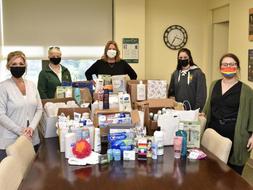A SUNY Oswego collection drive netting $2000 in materials that will benefit families fleeing domestic violence in Oswego County