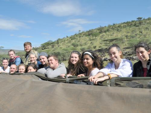 Students learning by traveling across Tanzania