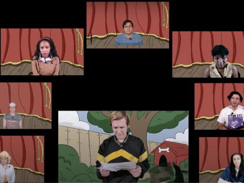 Character in virtual production of Dog Sees God gathered in a Zoom room with custom backgrounds