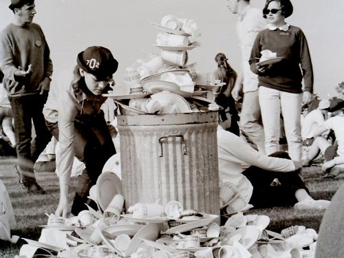File photo of students doing a trash pickup as part of environmental efforts