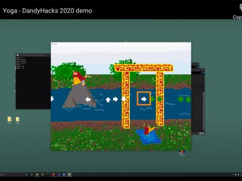 Screen capture of scene from Yoga video game, which won a hackathon award