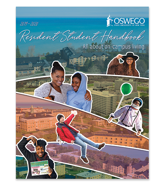 Links to the 2019-20 Resident Student Handbook. Aerial views of Residence Halls.