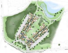 artist's rendering of the Village with unit labels