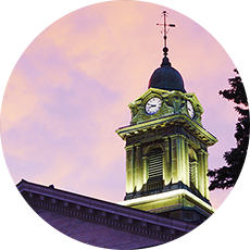 Nighttime view of Sheldon Hall clocktower