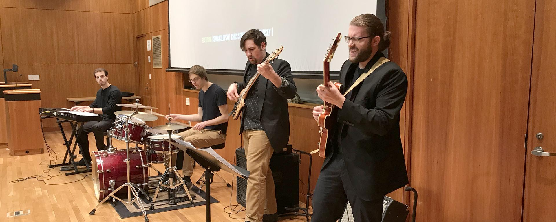 Student jazz combo performs at Quest