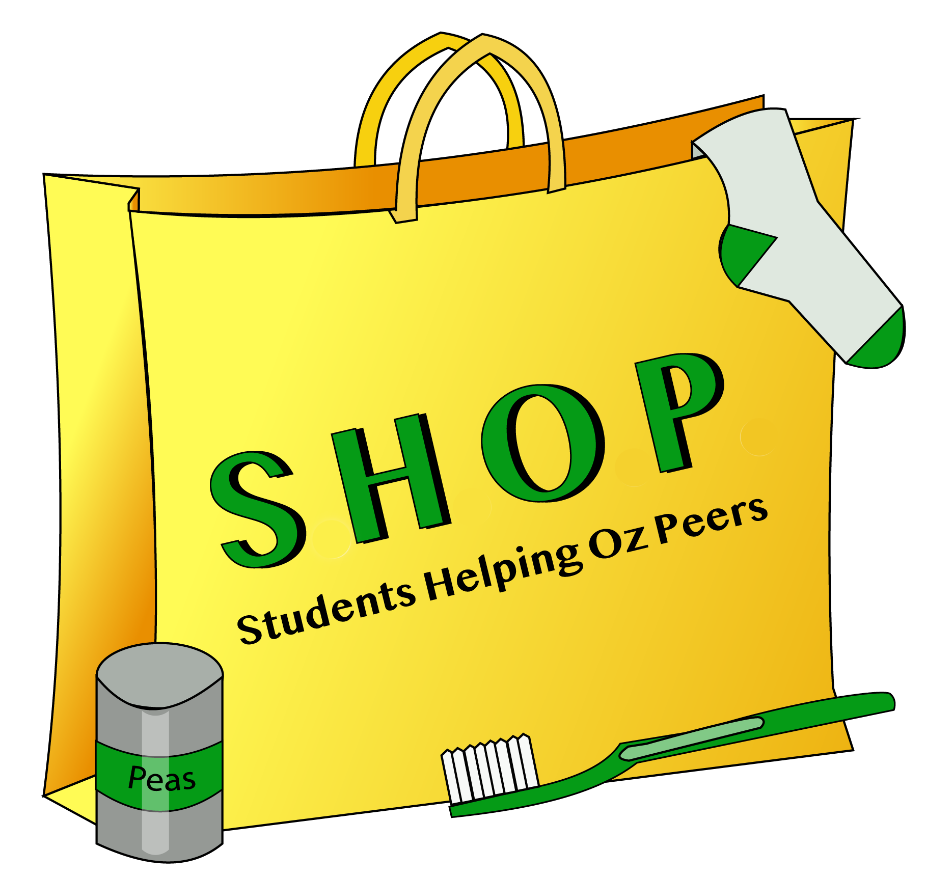 Shopping bag with a sock hanging out and a canned good and toothbrush with the word SHOP on the front